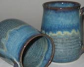 Pottery Mug, XL 20 oz Plum Blue, Handmade, Microwave Dishwasher Safe