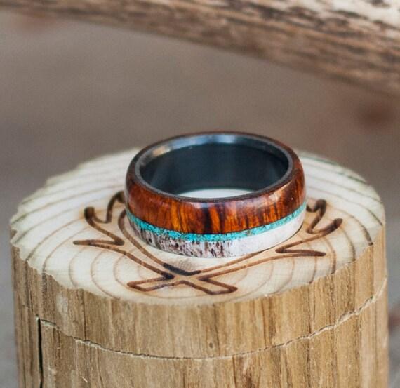 Mens Wedding Band Wood Elk Antler Amp Turquoise Ring Set On