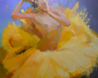 Oversized painting of ballerina art original, Extra large painting Contemporary Art Woman Oil painting 2 m, Yellow painting