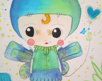 Mixed Media Watercolor Rabbit Fairy Girl Green Blue by Ceville Designs