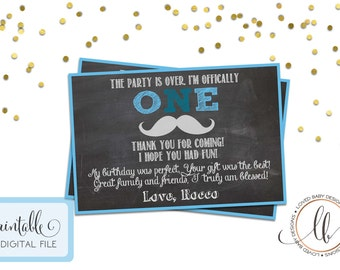 Little Man Birthday Thank You Card- DIY, Printable, First Birthday Thank You Card