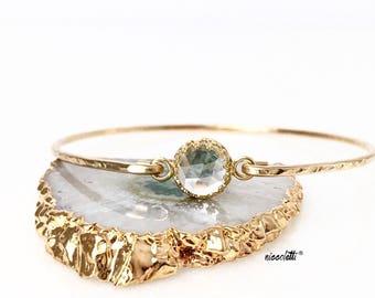 Genuine Clear Quartz Bangle Bracelet / 14k Gold Filled or Sterling Bangle / Gemstone Bangle / Alternative Diamond Solitaire Gift for Her
