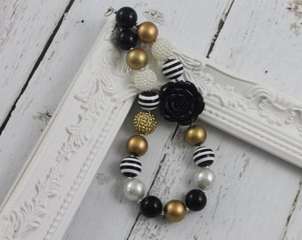 Black Gold Girls Chunky Necklace  Bubble Gum Necklace Chunky Bead Necklace Toddler Chunky Necklace Little Baby Girls Chunky Necklace