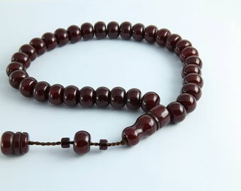 Brown color 33 pcs Islamic Prayer Beads Misbaha Rosary Tesbih worry 401036