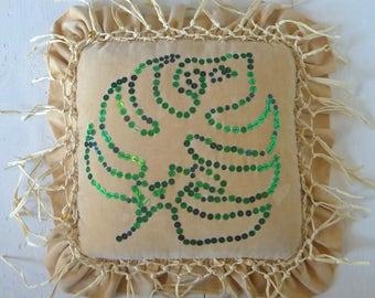 Monstera Leaf Cushion.  Tropical vintage velvet cushion, hand embroidered sparkle sequins and hand knotted raffia fringe