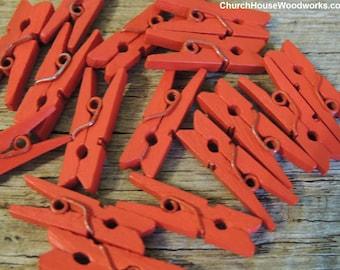 "Mini Clothespins, Wood Clothespins, RED, Tiny Clothespins, clothes pegs, Small Clothespin, 1"" clothespin, crafts supplies diy"