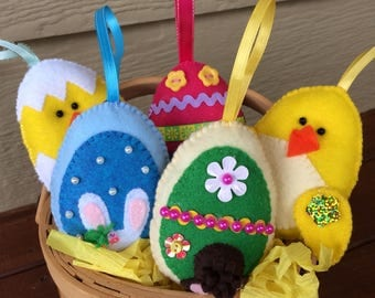 Felt Easter Ornaments. Felt Easter egg. felt Easter decoration.