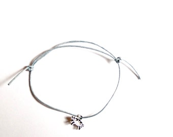 Silver crab / cancer / horoscope and zodiac star sign charm on waxed cotton cord adjustable friendship bracelet