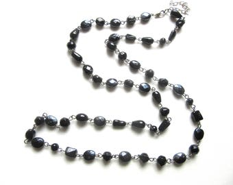 Long Black Glass Bead Necklace Single Strand Metal Strung 33 - 36 Inches