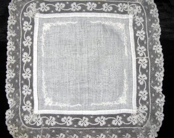 Gift For Bride-Something Old-Antique Wedding Handkerchief-Ivory Lace Hankerchief