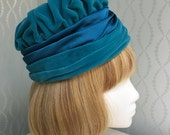 Gorgeous Peacock Blue Velvet Ladies Hat by Lucila Mendez
