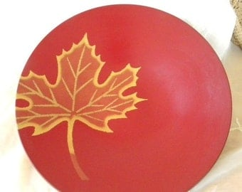 """Half Off Sale Red Lacquer Ware Bowl Gold Maple Leaf Design, Vintage Item, Marked Ko Ho Ro Japan, 11 3/4"""" Diameter, Great for Autumn Decor, A"""