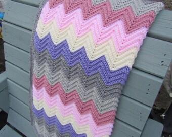 Crochet chevron blanket, crochet baby blanket, crochet blanket, baby girl baby blanket