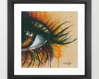Sunrise Eye Watercolor Painting Framed Art Print