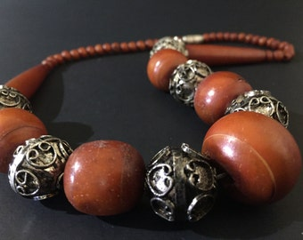 VINTAGE: Dyed Bone and Silver Necklace - Made in India - New Old Stock from 1970's