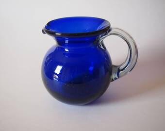 Cobalt Blue Hand Blown Art Glass Pitcher