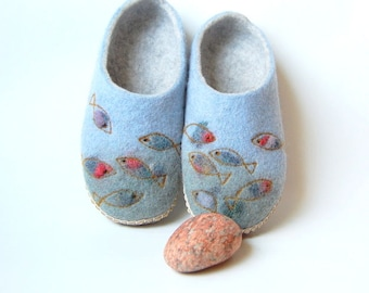 Fish art felt slippers - Handmade wool house shoes - Womens Felted slippers with leather soles - Wool felt slippers - gift fo her - to order