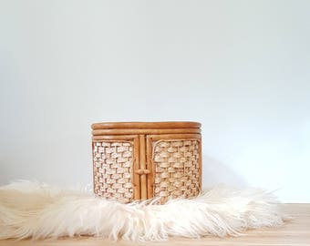 Rattan Footstool / Woven Ottoman / Bamboo Side Table - Vintage Wicker Stand / Storage / Side Table / Stool / Cabinet ~ Boho Chic