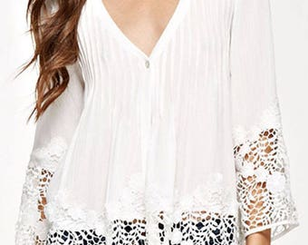 PIN TUCKED TOP - Single Button Top - Applique Top - Pin tucked top with applique - Off White Top - Multi color tops - Tops with lace