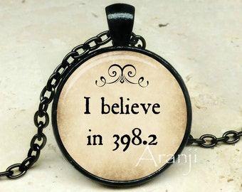 Fairy tales art pendant, I believe in 398.2 pendant, fairy tales necklace, books jewelry, library necklace, Dewey decimal, Pendant #QT118BK