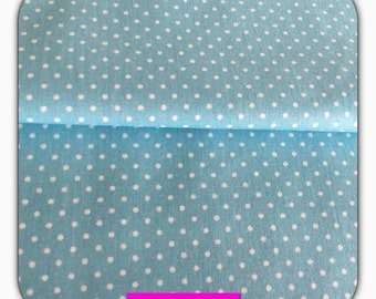 Cotton fabric turquoise with white dots, 50 cm