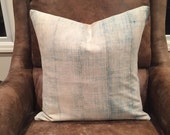 Vintage faded African indigo mudcloth pillow cover / boho faded indigo pillow cover
