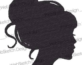 Machine Embroidery Design - Silhouette Girl with Bun - immediate Download