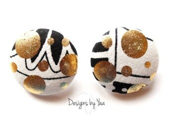 LARGE Gold Dusted Monochrome Button Earrings