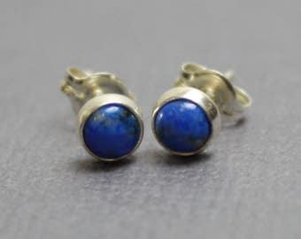 Tiny Lapis Earrings, Lapis Stud Earrings, Lapis Post Earrings, 4mm Lapis Earrings, Lapis Studs, Lapis Earrings, Kathy Bankston,Lapis Jewelry