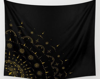 Gold and Black Wall Tapestry, black gold tapestry, mandala tapestry, black gold dorm, gold wall tapestry, black and gold, gold wall hanging