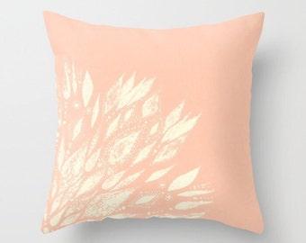 Blush Pink Flower Throw Pillow, pink throw pillow, blush pink pillow, blush throw pillow, pale pink pillow, light pink pillow