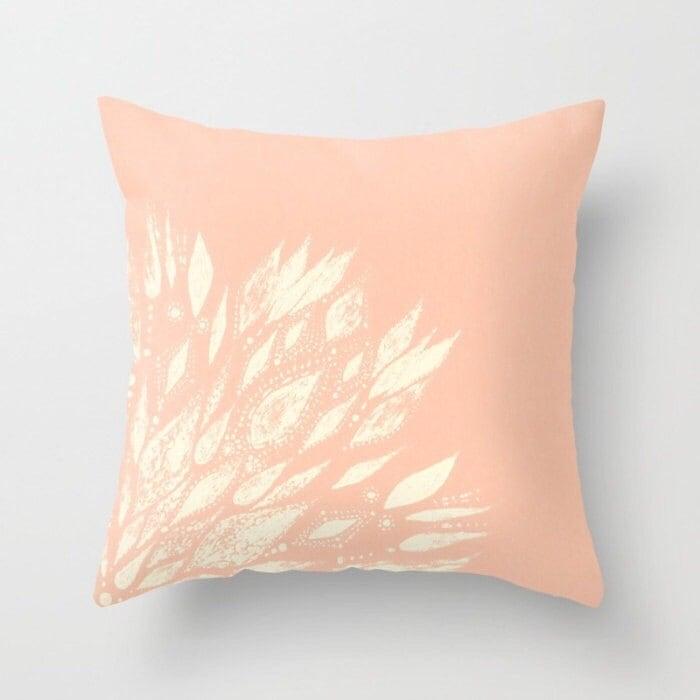 Blush Pink Decorative Pillows : Blush Pink Flower Throw Pillow Cover pink throw pillow blush