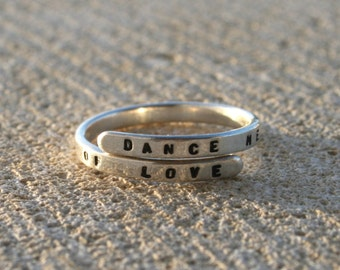 "Leonard Cohen, Handstamped Sterling Silver Lyric Ring. ""Dance me to the end of love' Handmade- Adjustable"