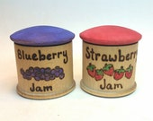Pretend Strawberry Blueberry Jam Jar  // Waldorf Play Kitchen Toy // Wooden Play Food // Waldorf Imaginative Play // Wooden Natural Kitchen