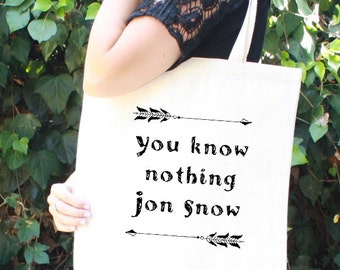 Game of Thrones Tote Bag - Jon Snow - You Know Nothing Jon Snow - Father's Day Gift