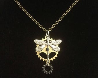 Dragonfly on gears necklace, clockwork dragonfly necklace, steampunk dragonfly jewelry, nature inspired necklace, silver dragonfly jewelry,