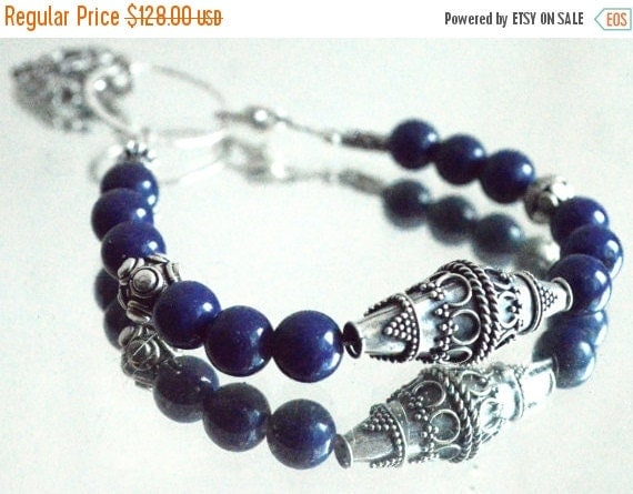 SALE 40% OFF Genuine Gemstone AAA Egyptian Lapis Lazuli Bali Solid Sterling Silver Beaded Bracelet Heart Bead beadwork 925 .925 Stack Stacki