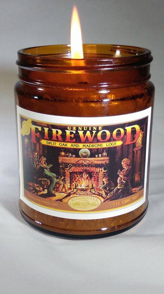 FIREWOOD - Genuine Wood Burning Wood Wick Fireplace Candle 9 oz - Vintage Label
