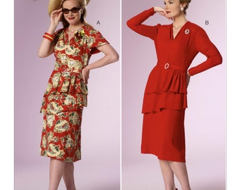 Butterick B6266 Misses' 1940s Tiered Peplum Dresses Historical Costume Sewing Pattern