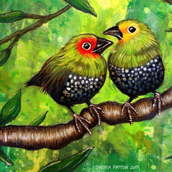 Green Twinspots Original Painting