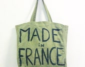 Made in France green large cotton shoulder tote