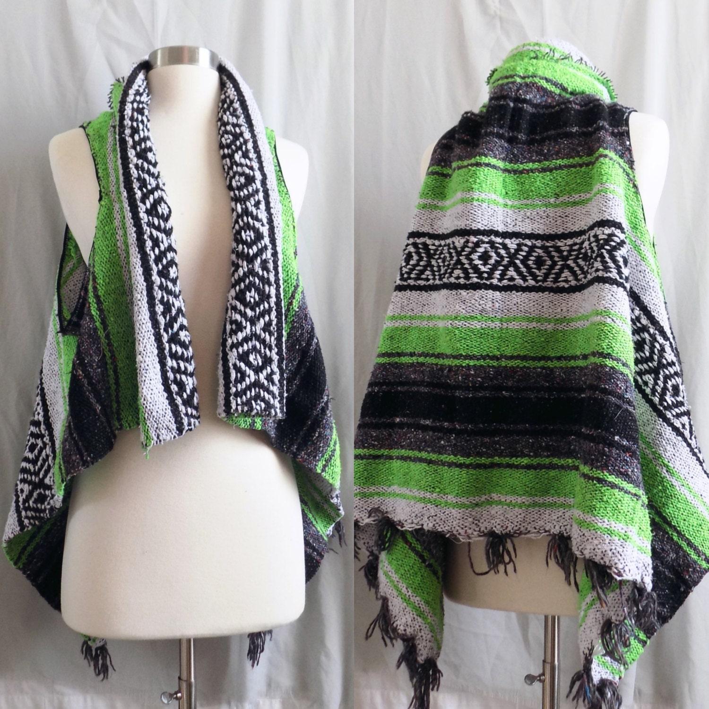 Green Fringe Vest Mexican Blanket Vest One Size Fits All