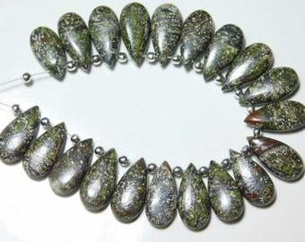 4 Matching Pair-Jasper Smooth Pear Teardrop Briolette -Stones measure-  15x7mm