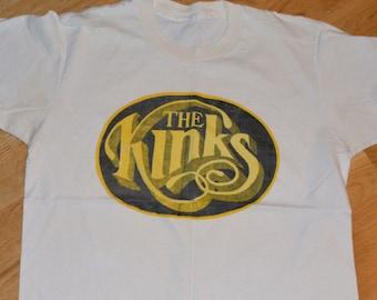 1970's The KINKS vintage rock band concert tour rare original tee t-shirt tshirt (M/L) Medium 70s 1970s 1972 Ray Dave Davies