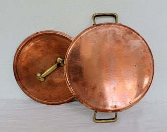 Cuivre Y.G. Villedieu 2mm copper stock pot, sauce pan, sautee pan, casserole, dutch oven, vintage french professional cooking pot