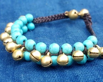 Turquoise Blue Beaded Bracelet with Bells