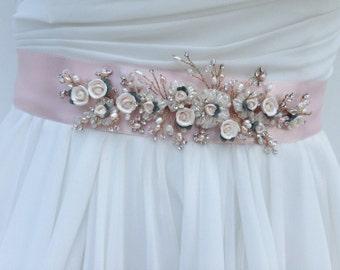 Floral Bridal Sash, Wedding Sash in Blush Pink With Swarovski Crystals, Freshwater Pearls And Porcelain Roses, Bridal Belt