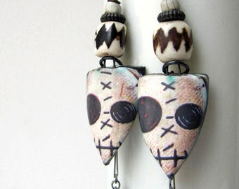 Gang Of One - rustic off-white voodoo doll earrings w/ artisan ceramics; grungy gothic earrings, primitive tribal assemblage earrings