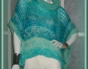 SWEATER WOMANS KNITTED Poncho With Sleeves Loose Oversized Bulky Chunky Loose Knit