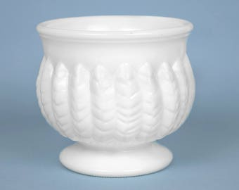 Vintage White Milk Glass Planter  / Flower Pot / Vase with Feather /Fern / Wheat Design 4.25 Inches Tall